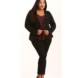 Torrid Ruffle Peplum Military Jacket Blazer PLUS